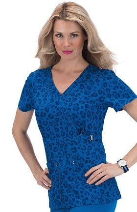 Clearance koi Sapphire Women's Sherri Mock Wrap Royal Leopard Print Scrub Top
