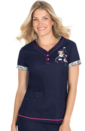 koi by tokidoki Women's Katrina V-Neck Donutella Print Scrub Top
