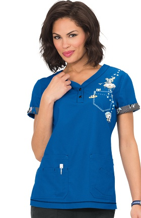 Clearance koi by tokidoki Women's Katrina V-Neck Outer Space Print Scrub Top