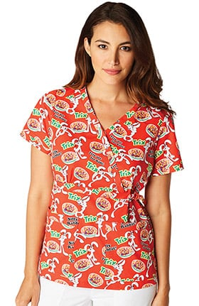 Clearance koi Prints Women's General Mills® Luna Stretch Mock Wrap Trix Print Scrub Top