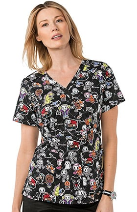 koi by tokidoki Women's Luna Stretch Halloween Print Scrub Top