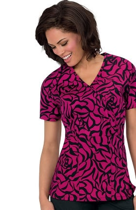 Clearance koi Stretch Women's Joelle Mock Wrap Floral Print Scrub Top