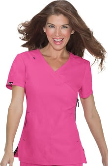 koi Lite Women's Philosophy Mock Wrap Side Zipper Solid Scrub Top