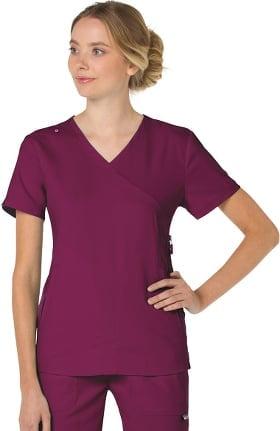 Clearance koi Lite Women's Philosophy Mock Wrap Side Zipper Solid Scrub Top