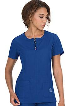 koi Lite Women's Serenity Round Zip Neck Solid Scrub Top
