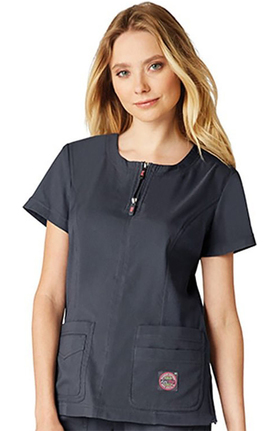 koi Lite Women's Serenity Round Zip Neck Solid Scrub Top