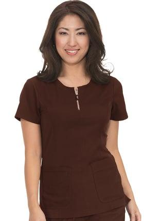 koi Lite Women's Limited Edition Serenity Zip Up Round Neck Solid Scrub Top