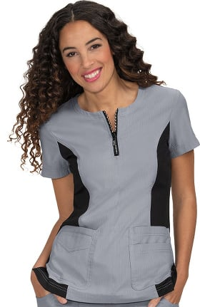 Clearance koi Lite Women's Limited Edition Serenity Zip Up Round Neck Solid Scrub Top