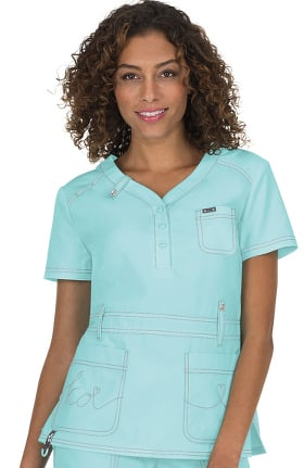 06427b4750e Clearance koi Classics Women's Kendall Button Front Solid Scrub Top