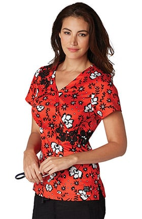 Clearance koi Prints Women's Sabrina Mock Wrap Floral Print Scrub Top