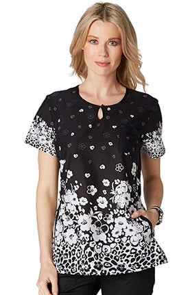 Clearance koi Prints Women's Carly Round Neck Animal Print Scrub Top