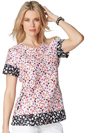 Clearance koi Prints Women's Carly Round Neck Floral Print Scrub Top