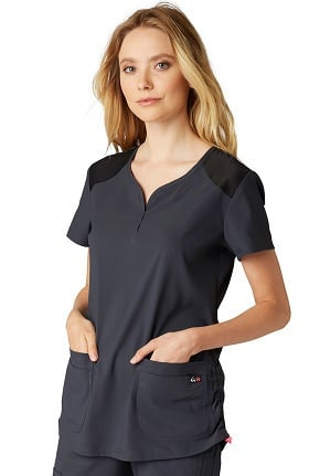 koi Lite Women's Gratitude Sweetheart Neck Solid Scrub Top