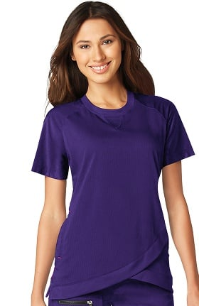koi Lite Women's Meditate Crew Neck Solid Scrub Top