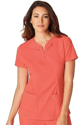 Clearance koi Sapphire Women's Talie Notch Neck Laser-Cut Solid Scrub Top