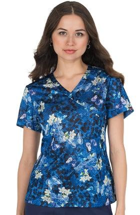 Clearance koi Lite Women's Bliss Butterfly Print Scrub Top