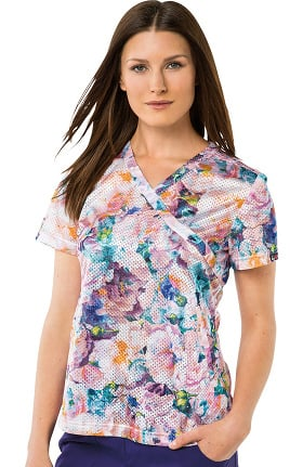 koi Lite Women's Bliss Mock Wrap Floral Print Scrub Top