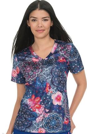 Clearance koi Lite Women's Bliss Mock Wrap Butterfly Print Scrub Top