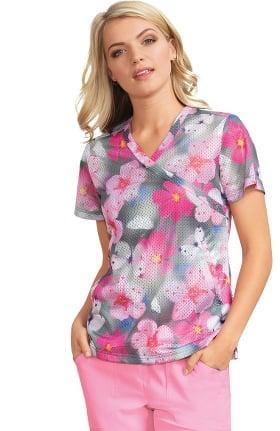 koi Lite Women's Bliss Mock Wrap Floral Print Scrub Top