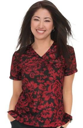 Clearance koi Lite Women's Bliss Mock Wrap Floral Print Scrub Top