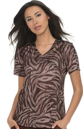 Clearance koi Lite Women's Bliss Mock Wrap Animal Print Scrub Top