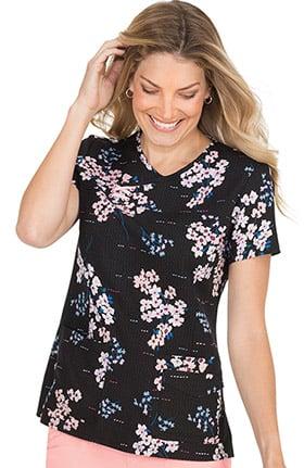 koi Prints Women's Serena Floral Print Scrub Top