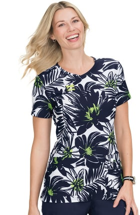 Clearance koi Prints Women's Serena Y-Neck Floral Print Scrub Top
