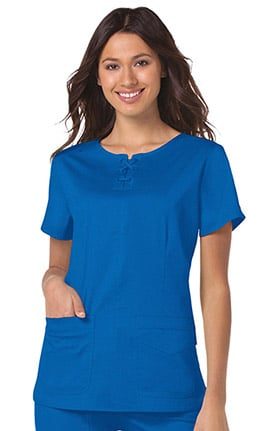 koi Stretch Women's Missy Lace-Up Round Neck Solid Scrub Top