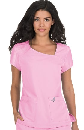 koi Mariposa Women's Tara Asymmetrical V-Neck Solid Scrub Top