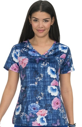 Clearance koi Prints Women's Alice Y-Neck Floral Print Scrub Top