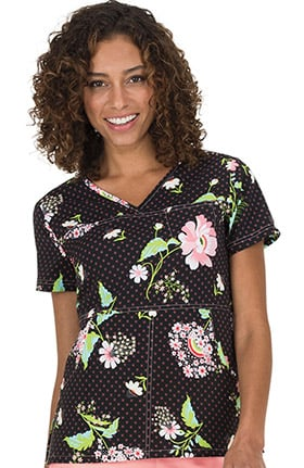 koi Prints Women's Alice Floral Print Scrub Top