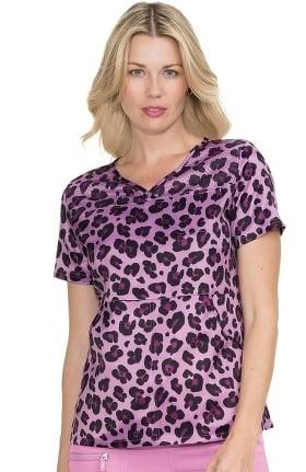 koi Lite Women's Nima V-Neck Animal Print Scrub Top