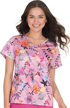 koi Lite Women's Nima Crossover V-Neck Floral Print Scrub Top