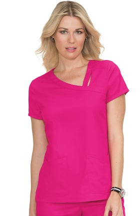 koi Stretch Women's Leah  Asymmetrical Cutout Neckline Solid Scrub Top