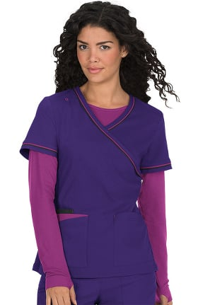 koi Lite Women's Theory Mock Wrap Solid Scrub Top