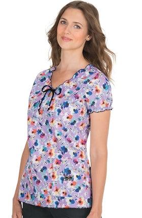 Clearance koi Prints Women's Delaney Floral Print Scrub Top