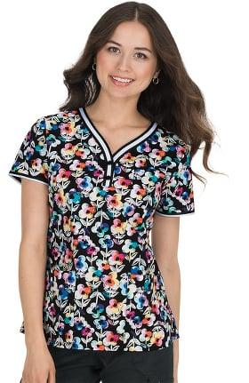 koi Prints Women's Kayla Stretch Floral Print Scrub Top