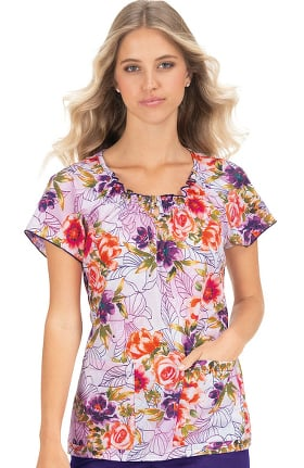 koi Classics Women's Kinsley Round Neck Floral Print Scrub Top
