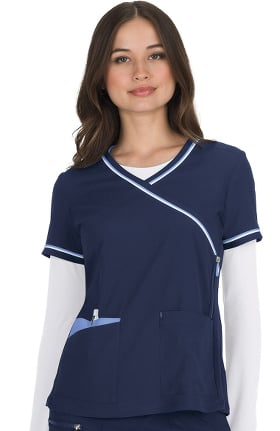 Clearance koi Lite Women's Revive Mock Wrap Solid Scrub Top