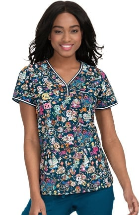 koi by tokidoki Women's Brea Sea Mates Print Scrub Top