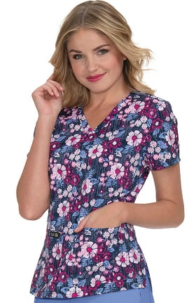 koi Basics Women's Leslie Daisy Days Print Scrub Top