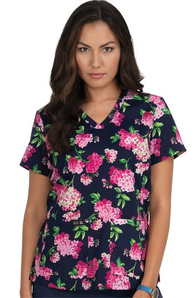 Clearance koi Basics Women's Leslie Floral Affair Print Scrub Top