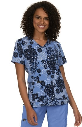 koi Basics Women's Leslie Faux Lace Print Scrub Top