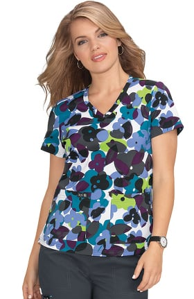 Clearance koi Basics Women's Leslie Flower Pop Print Scrub Top