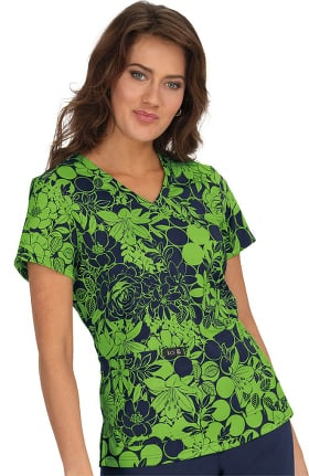 koi Basics Women's Leslie Floral Dot Print Scrub Top