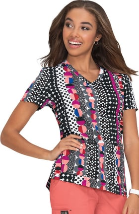 Clearance koi Basics Women's Leslie More Dots Print Scrub Top