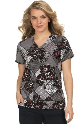 Clearance koi Basics Women's Leslie Patchwork Flower Print Scrub Top