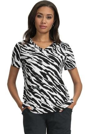 koi Basics Women's Leslie V-Neck Animal Print Scrub Top