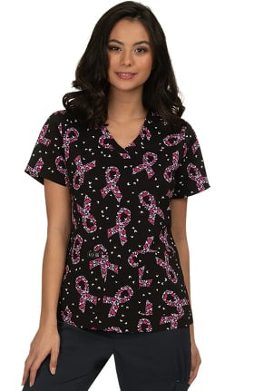 koi Basics Women's Leslie Breast Cancer Awareness Butterfly Print Scrub Top