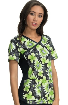 Clearance koi Prints Women's Raquel Mock Wrap Floral Print Scrub Top